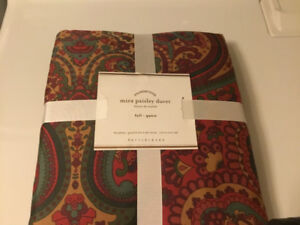 New Pottery Barn Mira Paisley Queen Duvet Cover