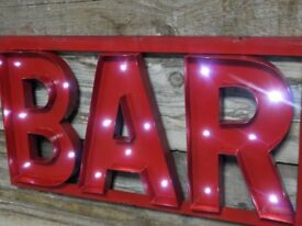 Metal Red Bar Light Up Sign
