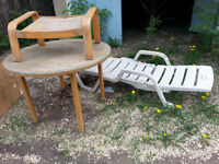 Table, recliner, chair and footstool