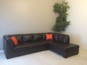 Ashley Furniture brown leather sectional