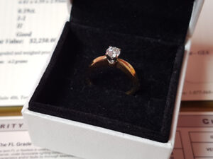 BEAUTIFUL 18K YELLOW GOLD DIAMOND SOLITAIRE ENGAGEMENT RING