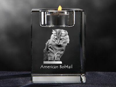 American Bobtail, Kristall-Kerzenleuchter mit Katze, Crystal Animals DE American Leuchter
