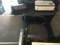 Corner desk black and silver metal frame