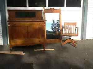 Antique buffet, desk chair and mirror