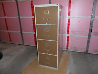 BEIGE AND BROWN 4 Drawer filling cabinet. 18.25 w X 28 d x 52.5