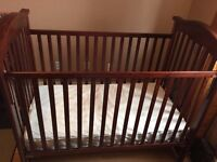Cherry wood crib and change table