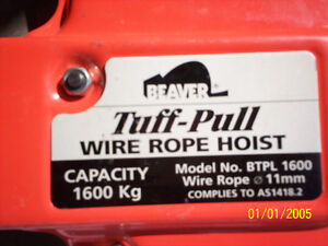 Beaver / Black Rat Tuff-pull wire rope hoist. PRICE: $300 OBO