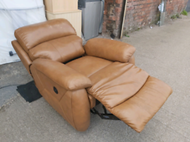 Recliner Chair - Quality Extra Comfy Genuine Soft Leather Electric Rec