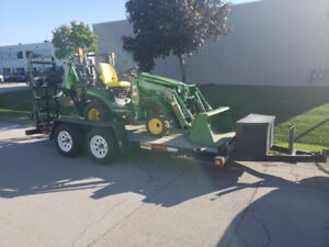 John Deere 1025R Tractor Loader Backhoe with 8000# trailer