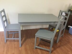 delivery included- newly refinished dining table 4 chairs