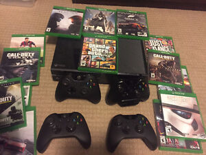 XBOX ONE with 4 controls and 14 games