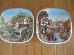 VINTAGE  3-D TUDOR-STYLE HAND PAINTED PAIR of DECORATIVE PLATES