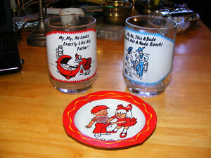 2 Vintage Glass Bear Mugs and Vintage Ash Tray