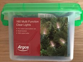 160 Multi Function Clear (Warm White) Christmas Tree Lights - Perfect Working Order