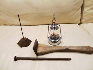 """Vintage Coleman Lantern, 9"""" Long Spike, Message Holder,"""