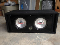 """Dual 10"""" MTX Subs with ported box and MTX amp"""