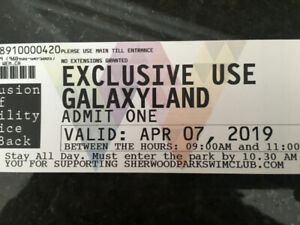 Exclusive Use Galaxyland tickets