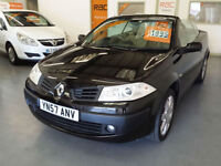 2007 57 reg RENAULT MEGANE CONVERTIBLE 1.6cc PRIVILEGE - LEATHER SEATS