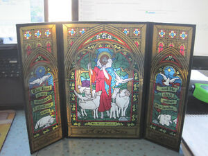Vintage 1980 The Good Shepherd Tri-Fold Faux Stained Glass Decor