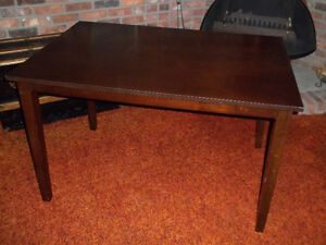 DARK BROWN DINING ROOM TABLE, GOOD CONDITION, LEGS ARE REMOVABLE