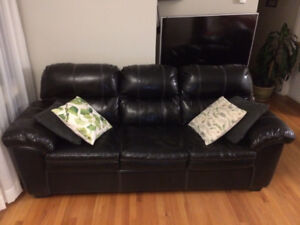 Leather Couch, Chair, and Ottoman Set
