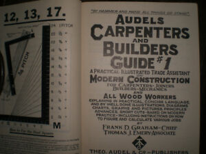 Vintage set of 4 Audels carpenters and builders guide 1928