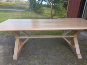 Harvest Table   7ft solid maple trestle table
