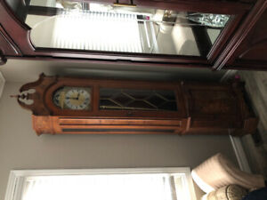 1980s oak grandfather clock
