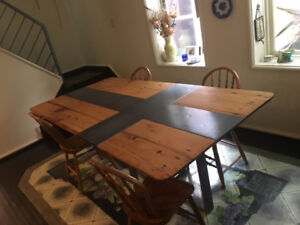 Antique meets modern, dining room table and chairs