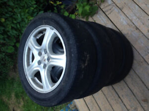 Subaru 16 inch alloy aluminum rims and tires 205 55 R16