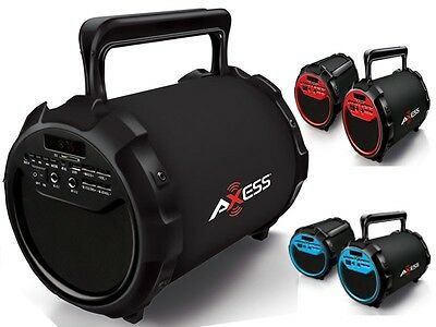 "Axess SPBT1034 6"" Rechargeable Cylinder Speaker +Bluetooth+USB/SD/FM+Free Mic"