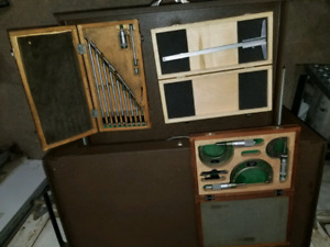 Machinist tool box with tools