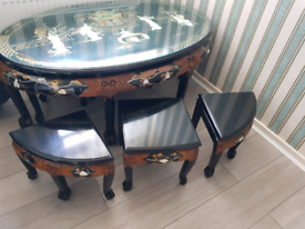 Chinese mother of pearl table and stools