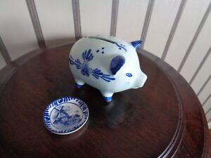 cochon tirelire et assiette décorative  Delft blue Michelotti