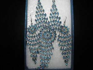 Blue Austrian Crystal Necklace and Earrings