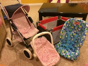 Doll stroller, carrier, car seat and play pen