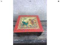 Antique Chinese Low Tea Table Painted Red Blue Green Circa 1850