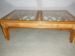 Rattan Coffee Table with Glass Inserts, Delivered