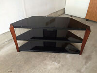 TV Audio Video Stand - Corner Unit with Glass Shelves