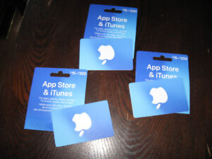 3 iTune gift cards
