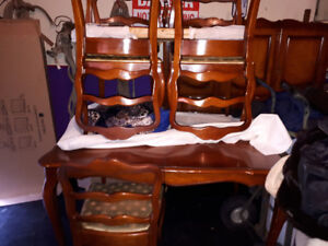 Vintage maple table 6 chairs 2 leafs and matching China hutch