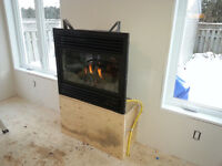 Natural gas/Propane fireplace, heat pumps and forced air furnace