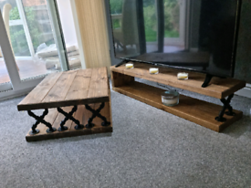 Solid Oak custom made coffee table and TV stand