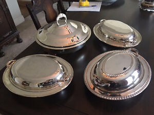4 Silver-Plated, Covered Serving Dishes
