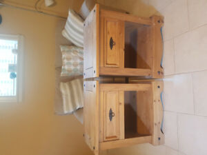 2x  Solid wood bedside tables / lockers