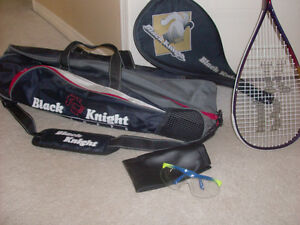 Black Knight Squash set - racket and carrying case, goggles SOLD