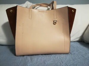 Banana Republic Pale Pink Leather & Brown Suede Purse