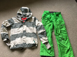 Boys Oneil winter jacket and Burton snowpants in size 10