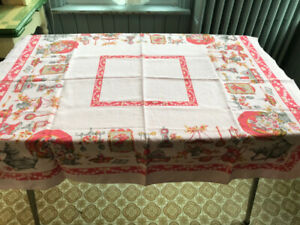 Vintage Tablecloth-Linen, 1970's, Pink/Red/Grey