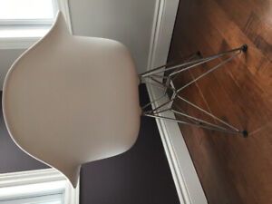 Two modern chairs with armrest white and chrome